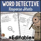 Word Detectives EDITABLE Worksheets