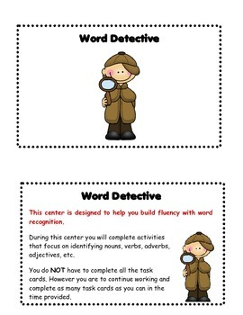 Word Detective Task Cards