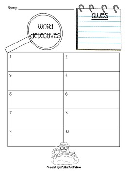 Word Detectives Record Sheet