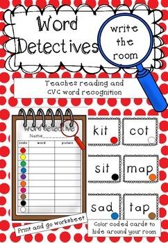 Word Detectives Write the Room *FREEBIE*