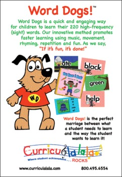 Word Dogs! (220 Dolch Words) Complete Sight Word Program  www.curriculalala.com