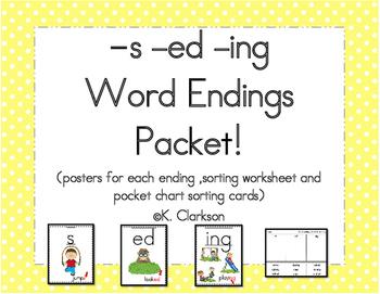 Word Endings -ed, -ing, -s Worksheets | Teachers Pay Teachers