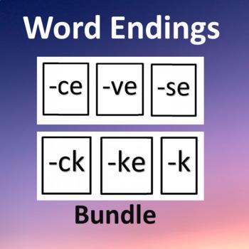 Word Endings BUNDLE-Word Sorts with Visuals--Spelling; Voc