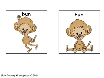 Word Endings Discrimination Sort: Monkeys Go Bananas -an, -en, -in, -un