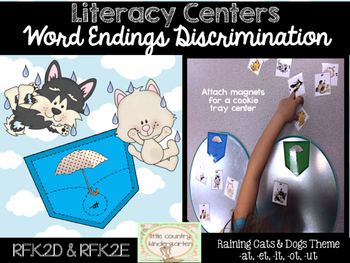 Word Endings Discrimination Sort: Raining Cats and Dogs -at, -et, -it, -ot, -ut