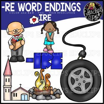 Word Endings –IRE Clip Art Bundle {Educlips Clipart}