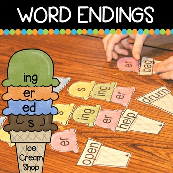 Word Endings Ice Cream Shop (s, ed, er, ing)