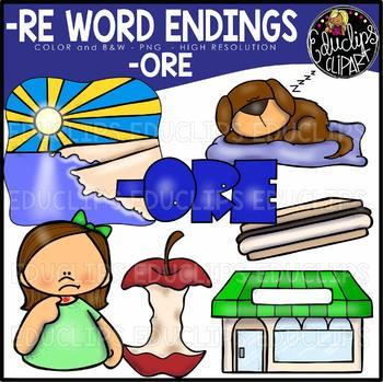 Word Endings –ORE Clip Art Bundle {Educlips Clipart}