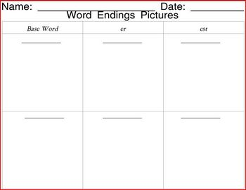 Word Endings Pictures - base words, and suffixes er, est