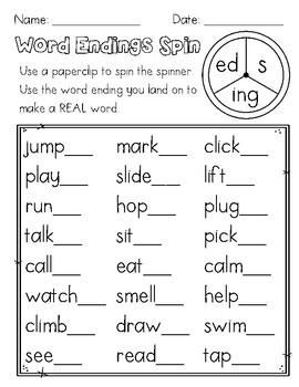 Word Endings Spinner (s,ed,ing)