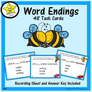 Word Endings Task Cards