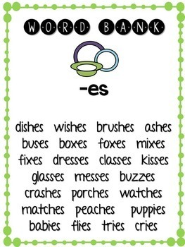 Word Endings- Phonics Unit, Word Work and Literacy Center Activities