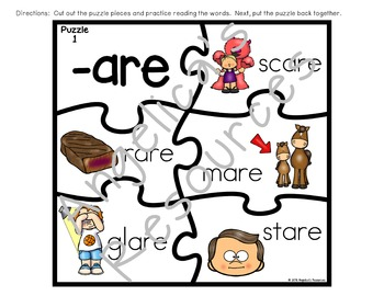 Word Endings: -RE Word Ending Puzzles  Literacy Center Acitivities