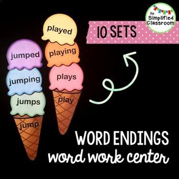 Word / Inflectional Endings Word Work Center - Ice Cream Scoops