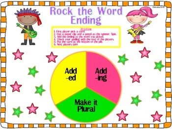 Word Endings Word Work Game