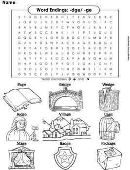 Word Endings -dge/ -ge Word Search - Coloring Sheet