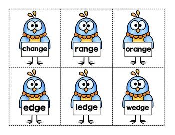 Word Endings: dge, lge, nge, rge, ge ~Word Work~ Activity Pack