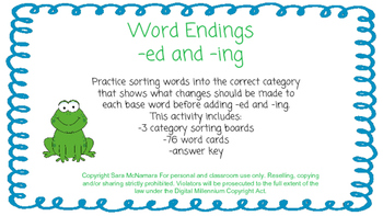 Word Endings: -ed and -ing