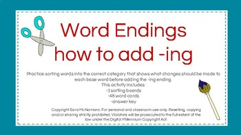 Word Endings: how to add -ing.