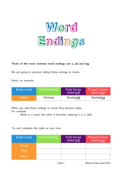 Word Endings (s, ed & ing)