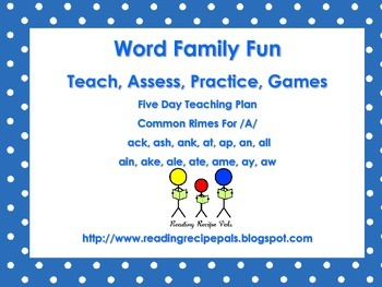 Word Families for /a/      Assessment, Practice, Games