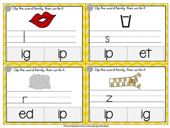 Word Families 1 Clip, Write & Wipe Phonics Cards {36 Cards}