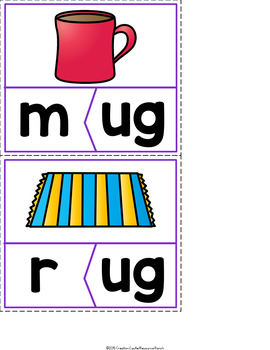 CVC Word Families Worksheets, Centers, Guided Reading Short U Bundle