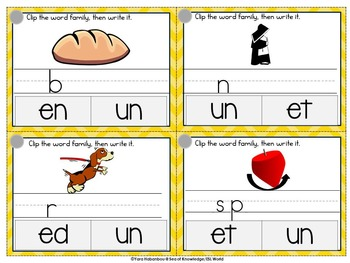 Word Families 2 Clip it, Write it 7 Wipe it Cards {44 Cards}
