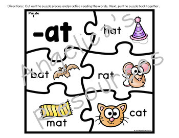 Word Families: Word Family Puzzles - Great for Back to School Activities!