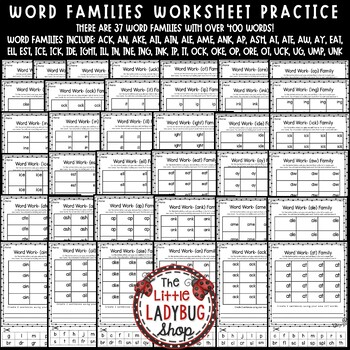 Word Family Activities 1st Grade, 2nd Grade Word Family Worksheets