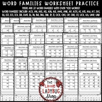 Word Families Activities 1st Grade, 2nd Grade & Word ...