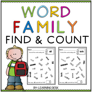 Word Family Worksheets (Find and Count)