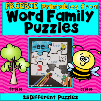 FREEBIE : Word Families - Word Family Puzzles