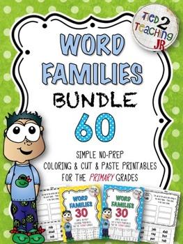Word Families - 60 Simple (COLORING & CUT & PASTE) No-Prep Printables