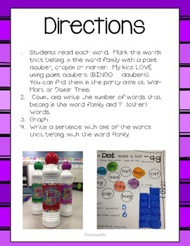 Spot It! Dot It! Word Families and CVC Words