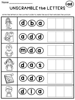 CVC Word Family Worksheets (AD Family)