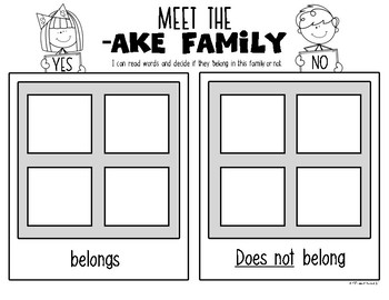 Word Families {AKE} Snapshot Mini Unit {Kindergarten & First} Rhyming Words