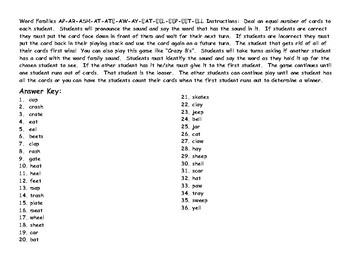 Word Families AP-AR-ASH-AT-ATE-AW-AY-EAT-EEL-EEP-EET-ELL Card Game