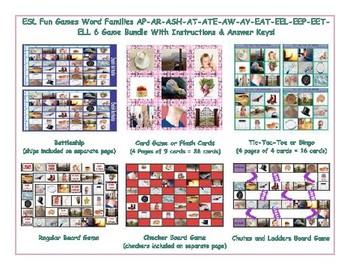 Word Families AP-AR-ASH-AT-ATE-AW-AY-EAT-EEL-EEP-EET-ELL  Six Game Bundle