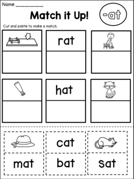 FREE CVC Word Family Worksheets (AT Family)