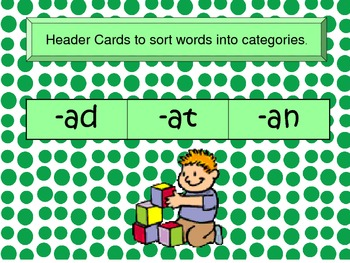 Word Families Flash Cards -AT, -AN, -AD, AP