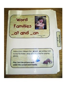 Word Families AT and AN Picture Sort: File Folder Activity