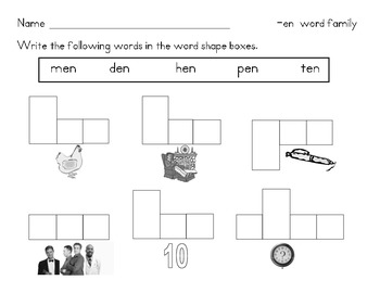 Word Families Activity:  Word Shapes