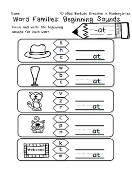 Word Families - Beginning Sounds and Sound & Write