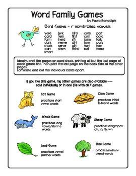 Word Families - Bird Game