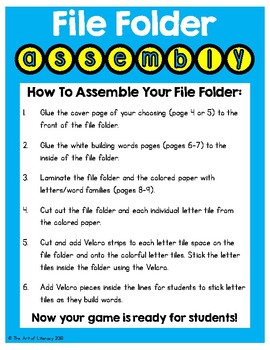 Word Families: Building Words File Folder Center