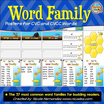 Word Family Posters for CVC CCVC and CCVCC Words (37 Most Common Word Families