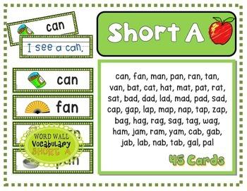 Word Families: CVC Phonics Sentence Strips BUNDLE (AEIOU)