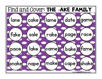 Word Families CVCE Words:  Find and Cover Activities