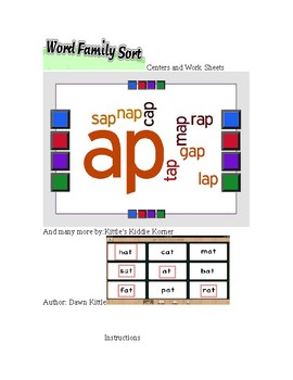 Word Families Centers and Worksheets